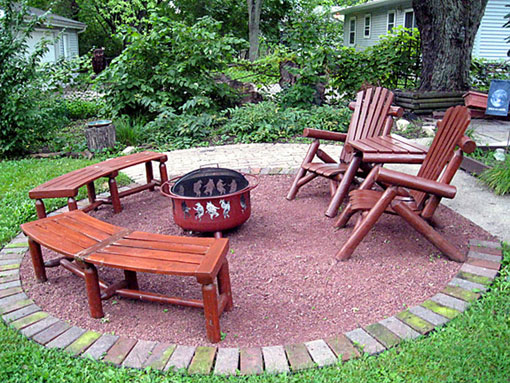 permeable, recycled fire pit sitting area photo