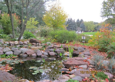 St Charles Project – Front yard landscape with less lawn, peaceful pond, and year round interest.